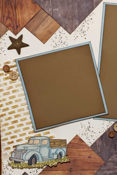 Masculine scrapbook layout with a country feel