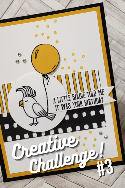 card with bird and balloon for creative challenge #3 bird theme