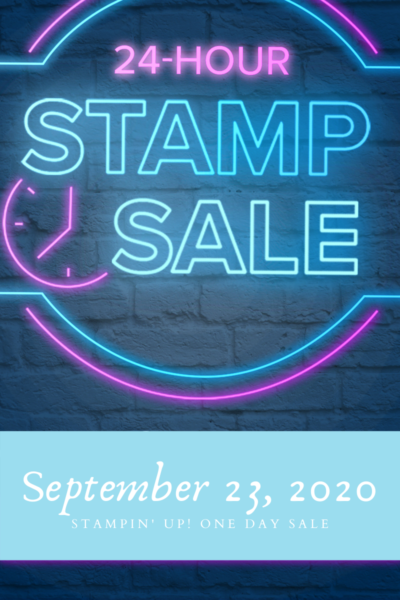Blue and purple neon sign that reads 24-Hour Stamp Sale