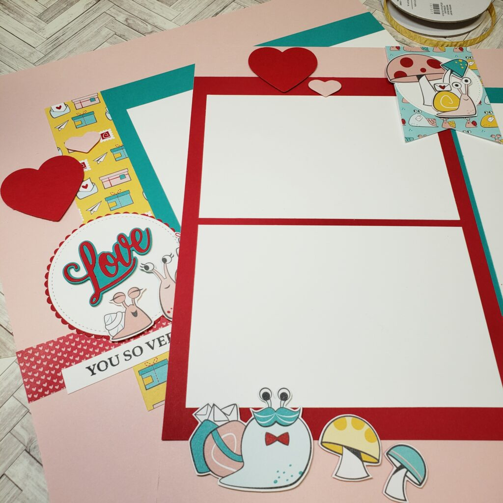 Loved themed Scrapbook layouts made using the Stampin' Up! Snail Mail DSP