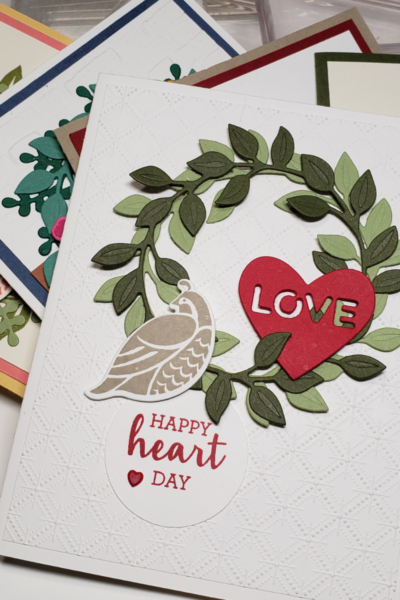 Happy Heart Day card with Arrange a Wreath Stampin' Up bundle