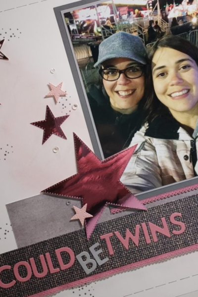 Could Be Twins Scrapbook layout with Stitched Stars embellishments