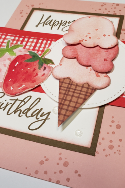 Image showing a birthday card made with Stampin' Up! Sweet Ice Cream bundle