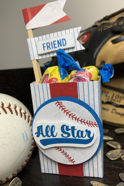 Baseball fan gift box made as an alternate project with the Batter Up Paper Pumpkin kit