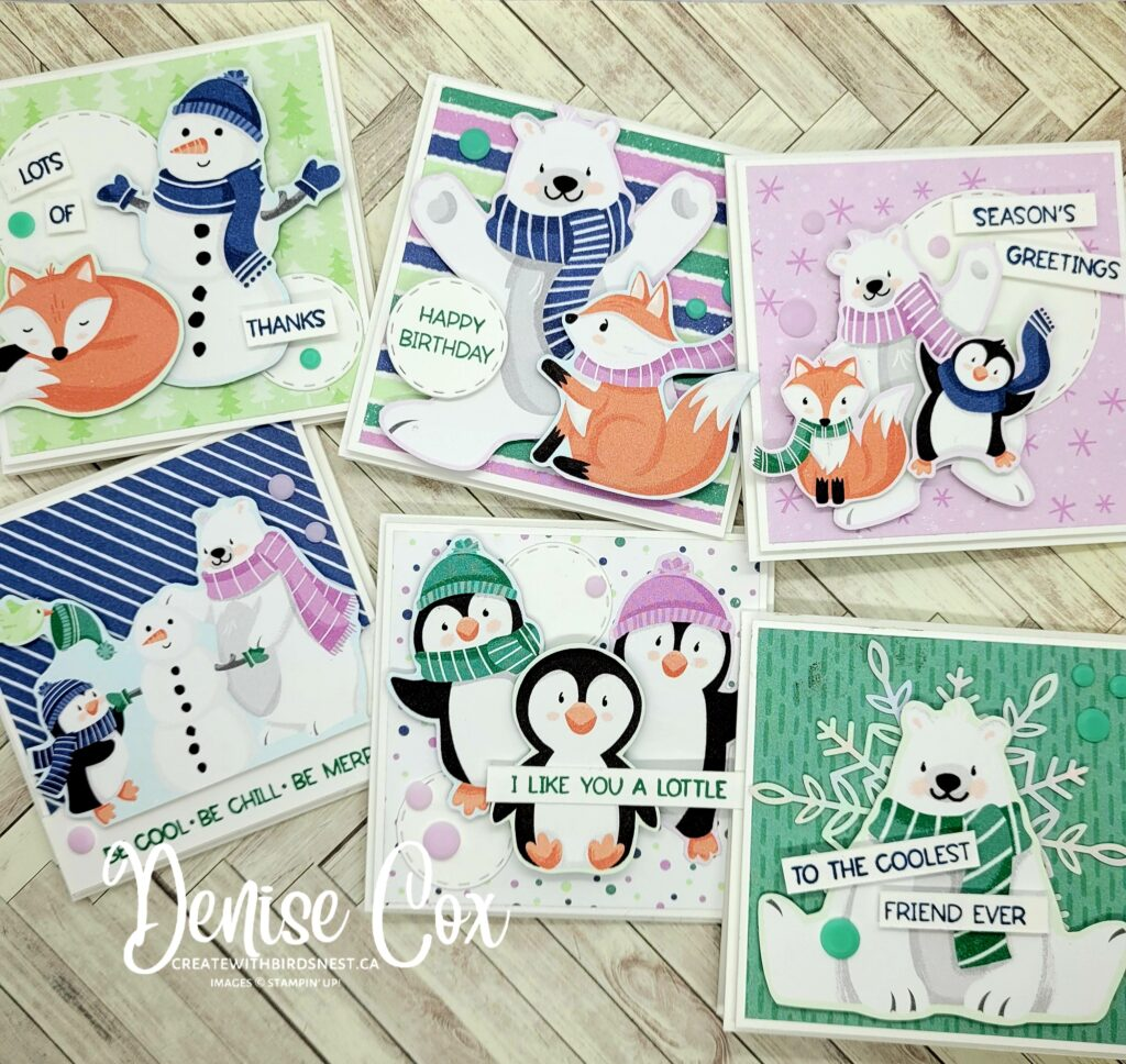 Photo showing 6 3x3 little cards made with the Stampin' Up! Penguin Playmates Designer Series Paper